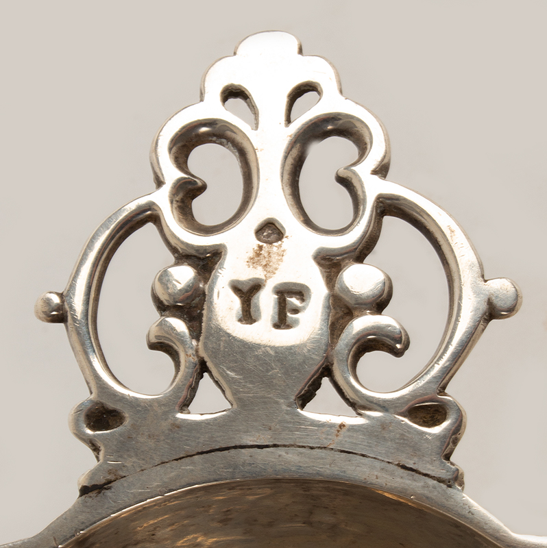 Silver Youth Bowl, Two Handled Ecuelle, Lobed, Pierced Handles, Tudor Rose Interior Marked and Retailed by J. Parkes & Co., London, circa 1931-1932, handle detail