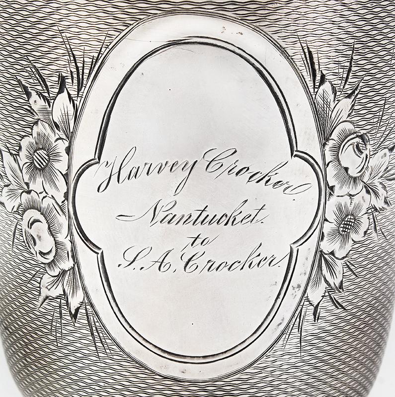 19th Century Coin Silver Standing Cup, Presented, Nantucket Harvey Crocker / Nantucket / J.A. Crocker Anonymous maker…good weight, fine condition, engraving view