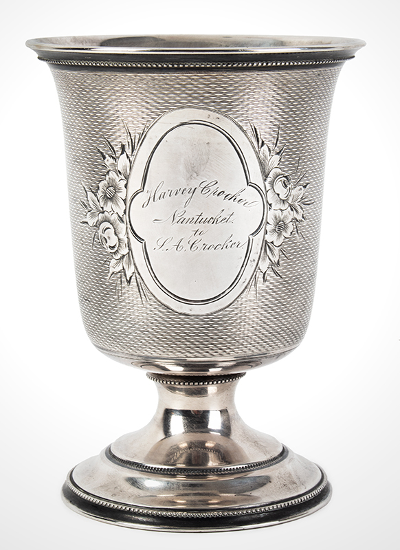 19th Century Coin Silver Standing Cup, Presented, Nantucket Harvey Crocker / Nantucket / J.A. Crocker Anonymous maker…good weight, fine condition, entire view 1