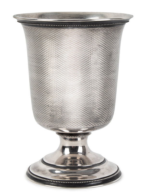 19th Century Coin Silver Standing Cup, Presented, Nantucket Harvey Crocker / Nantucket / J.A. Crocker Anonymous maker…good weight, fine condition, entire view 2