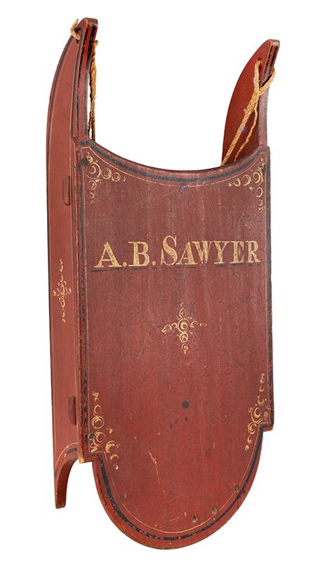 Antique Paint Decorated Child's Sled, A.B. Sawyer, Limington, Maine, Original Paint American, 19th Century, entire view 1