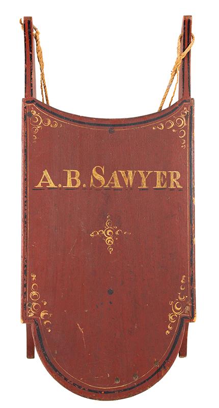 Antique Paint Decorated Child's Sled, A.B. Sawyer, Limington, Maine, Original Paint American, 19th Century, entire view 2
