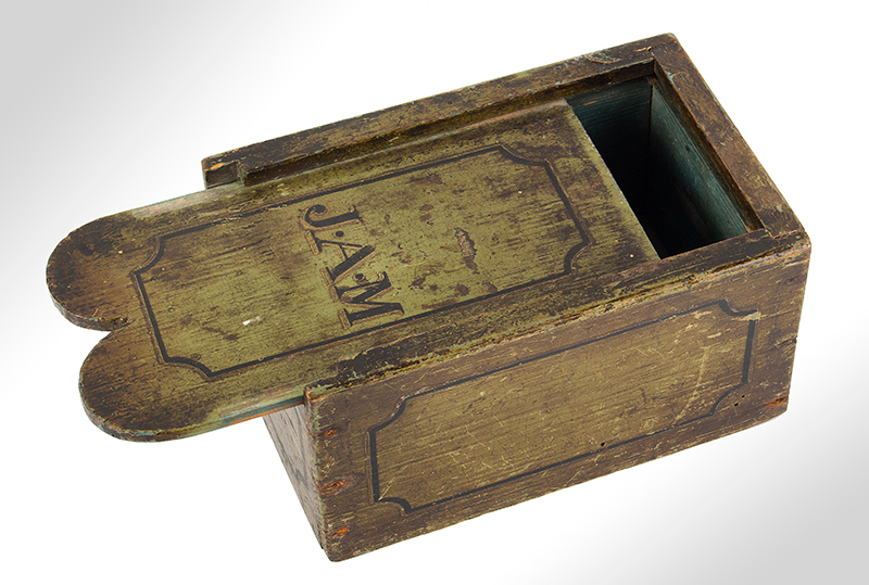 "Antique Slide Lid Box, Double Tombstone Lid Terminus, Original Paint America, 19th Century The lid displaying initials ""J.A.M."", entire view 2"