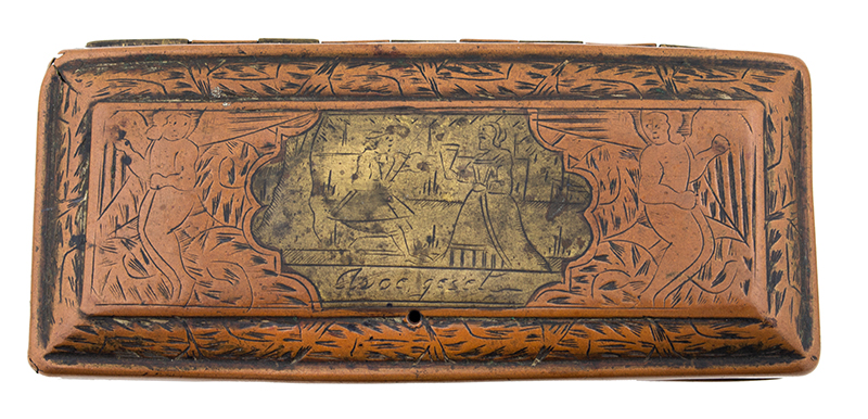 Brass & Copper Engraved Tobacco Box, Dutch, Early 18th Century, entire view 1