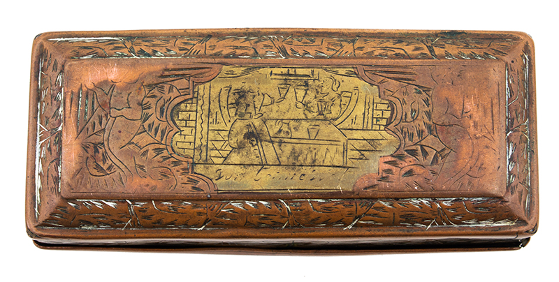 Brass & Copper Engraved Tobacco Box, Dutch, Early 18th Century, entire view 2