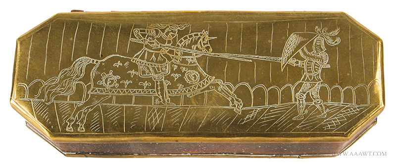 Tobacco Box, Armored Calvary Lancer Fights Armored Lacer on Foot, Brass & Copper Dutch, Circa 1700 to 1800, entire view