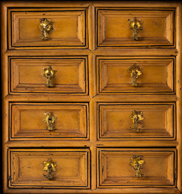 Early 18th Century Spice Cupboard or Valuables Cabinet, Painted England, circa 1700-1730 Pine, drawers view