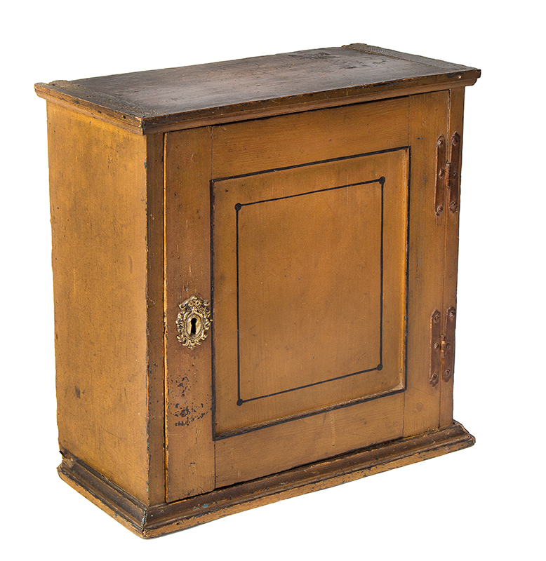 Early 18th Century Spice Cupboard or Valuables Cabinet, Painted England, circa 1700-1730 Pine, entire view 1