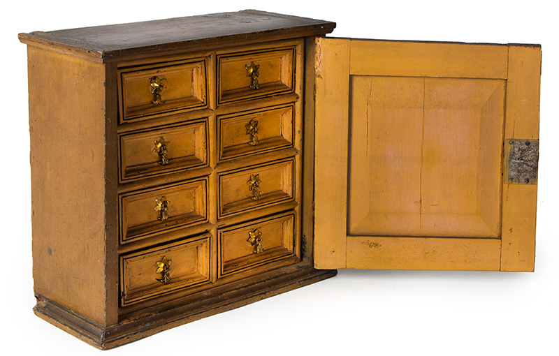 Early 18th Century Spice Cupboard or Valuables Cabinet, Painted England, circa 1700-1730 Pine, entire view 3