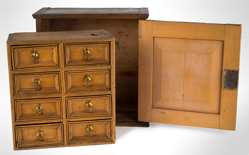 Early 18th Century Spice Cupboard or Valuables Cabinet, Painted England, circa 1700-1730 Pine, entire view 4
