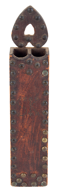 Early 19th Century Hanging Spill Holder, Pierced Heart, Original Surface New England Pine, original paint, dry surface, clinched upholstery tack & pin ornamentation, entire view 1a