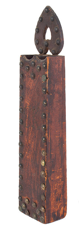 Early 19th Century Hanging Spill Holder, Pierced Heart, Original Surface New England Pine, original paint, dry surface, clinched upholstery tack & pin ornamentation, entire view 4