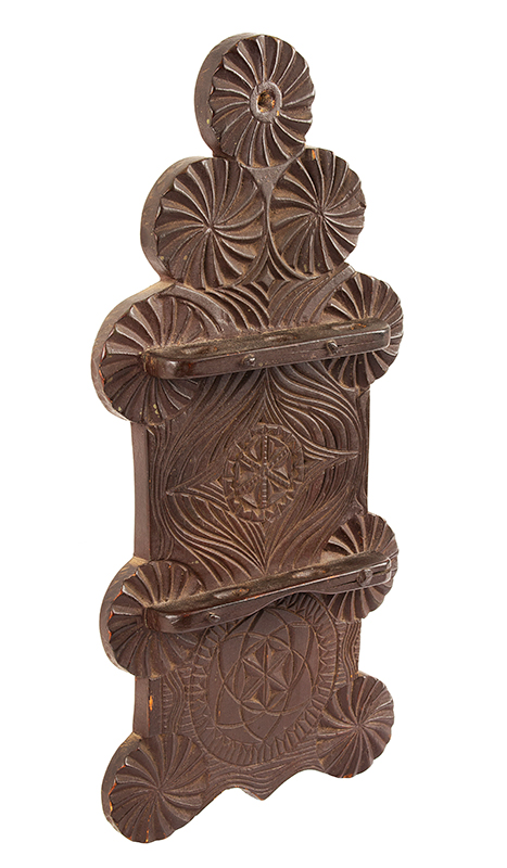 18th Century Spoon Rack, Elaborate Friesian Carving, Original Surface History Hudson River Valley, possibly New Jersey Wonderful early 19th century Spanish Brown over original green paint, dry patina, entire view 2