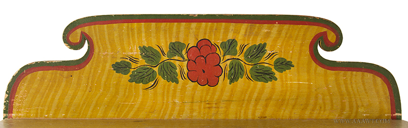 Antique Folk Art Table, Yellow Paint-decorated One-drawer Stand, Extremely Rare Likely Norway, Maine, circa 1820-1830, Original Condition Including Brass Hardware, back detail