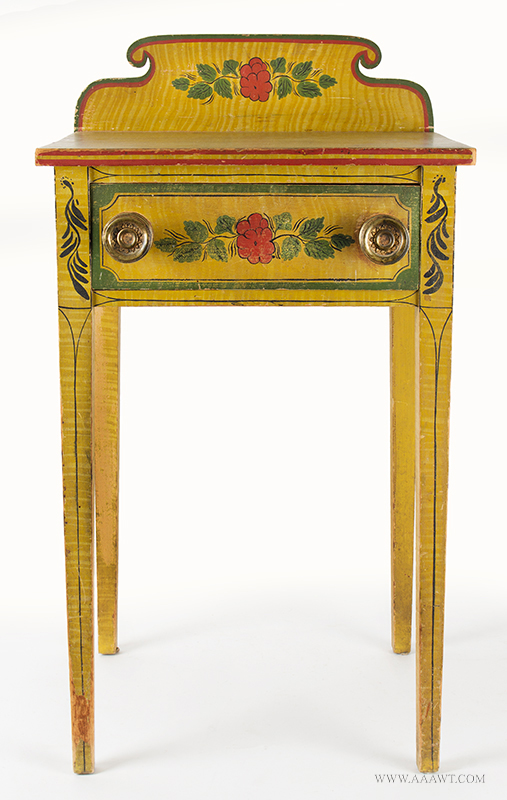 Antique Folk Art Table, Yellow Paint-decorated One-drawer Stand, Extremely Rare Likely Norway, Maine, circa 1820-1830, Original Condition Including Brass Hardware, entire view 1