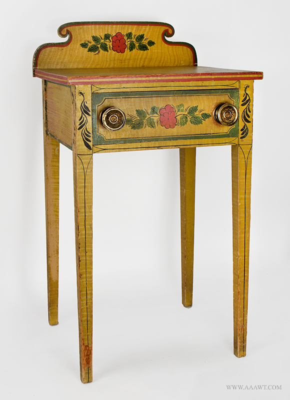 Antique Folk Art Table, Yellow Paint-decorated One-drawer Stand, Extremely Rare Likely Norway, Maine, circa 1820-1830, Original Condition Including Brass Hardware, entire view 2