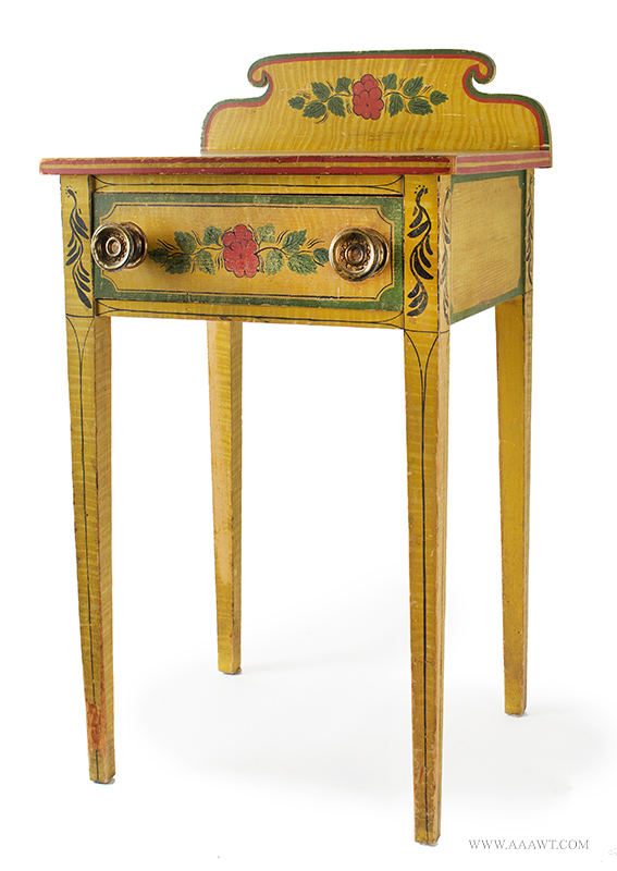 Antique Folk Art Table, Yellow Paint-decorated One-drawer Stand, Extremely Rare Likely Norway, Maine, circa 1820-1830, Original Condition Including Brass Hardware, entire view 3
