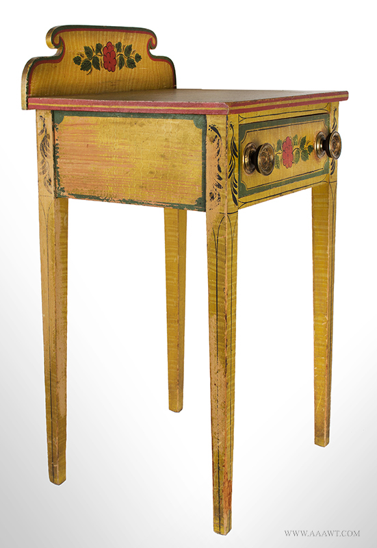 Antique Folk Art Table, Yellow Paint-decorated One-drawer Stand, Extremely Rare Likely Norway, Maine, circa 1820-1830, Original Condition Including Brass Hardware, entire view 4