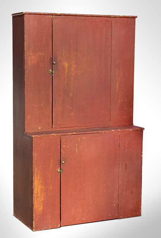 Antique Step-Back Cupboard, Original Red Paint and Brass Hardware New England, Early 19th Century White pine, very good original condition…smallish size, entire view 1