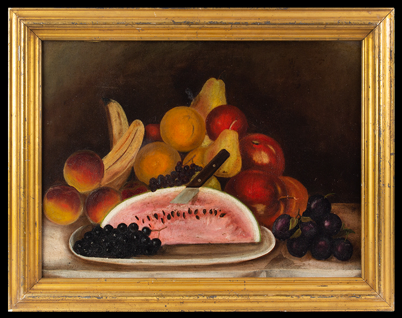 Folk Art Still Life Painting, Watermelon and Fruits Anonymous, American, Circa 1880-1900 Oil on academy board, label: Favor & Ruhl, New York, entire view