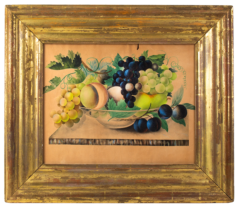 19th Century Still Life, Fruits in Colorless Glass Bowl Anonymous, circa 1870, entire view