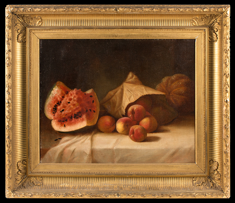 Still Life Painting,    Melons, Fruits, and Paper Sack, In the Circle of Helen Searle