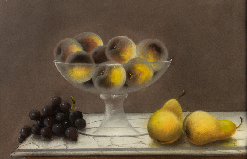 Pastel Still Life,    Fruits in Colorless Footed Glass Bowl,