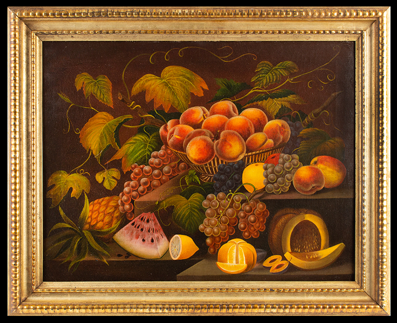 Still Life Painting, Fruits, Fabulous Gilt Frame  Anonymous, 19th Century, entire view