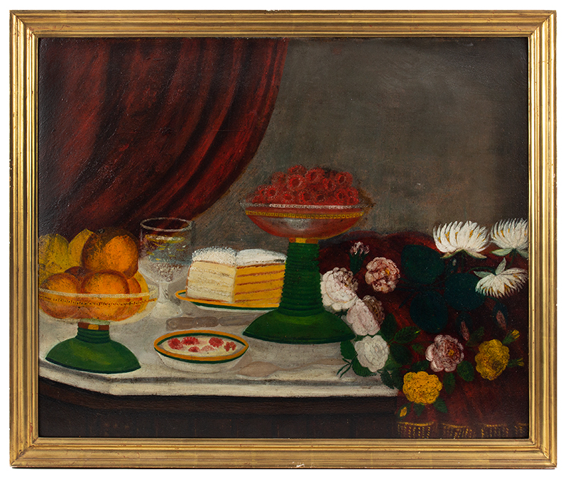 Folk Art Still Life Paintings, pair, Fruits, Cakes & Flowers Anonymous, circa 1880-1900 Oil on pressboard  A buffet laden with deserts and flowers, board 1 view