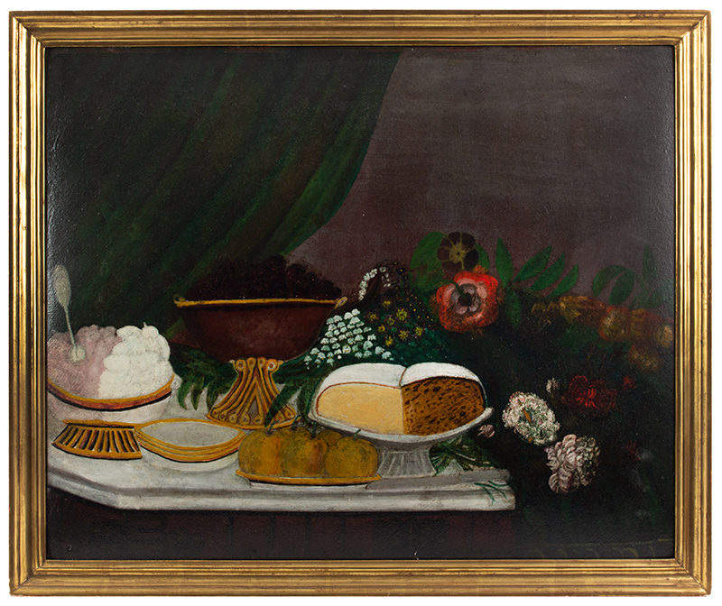 Folk Art Still Life Paintings, pair, Fruits, Cakes & Flowers Anonymous, circa 1880-1900 Oil on pressboard  A buffet laden with deserts and flowers, board 2 view