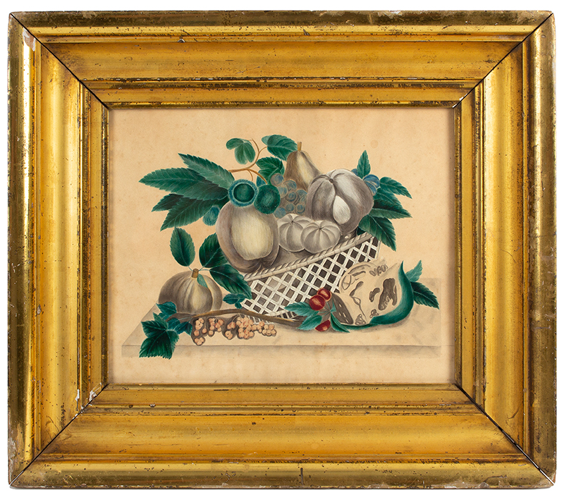 Watercolor, Freehand Still Life, Fruits, Berries and Foliage in Reticulated Bowl American School, Circa 1835-1840