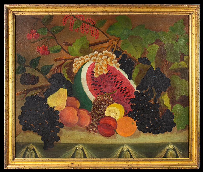 Antique Folk Art Still Life Painting, Fruits and Berries on Table Found in The Shenandoah Valley of Virginia, 19th Century Anonymous, entire view