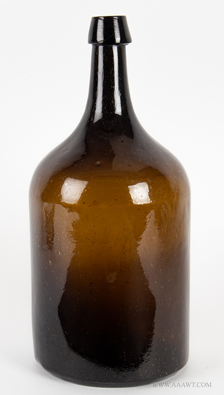 Storage Bottle, Cylindrical, Mold Blown,   Olive Amber New England, Second Half 19th Century, entire view