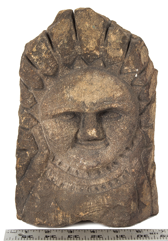 Carved Granite Stone-Face, Possibly Eastern Indian or Even Old Sol    Anonymous, Antique