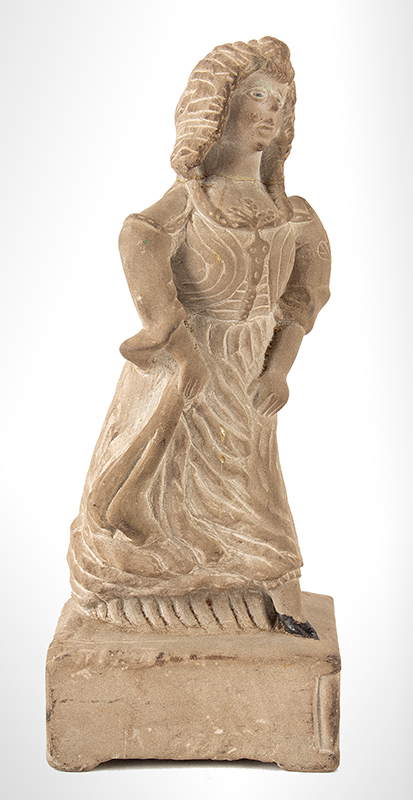 Antique Bluestone Carving, Young Woman in Long Dress, Eyes and Shoes Painted  Unknown Artist, likely Mid-19th Century, entire view 2