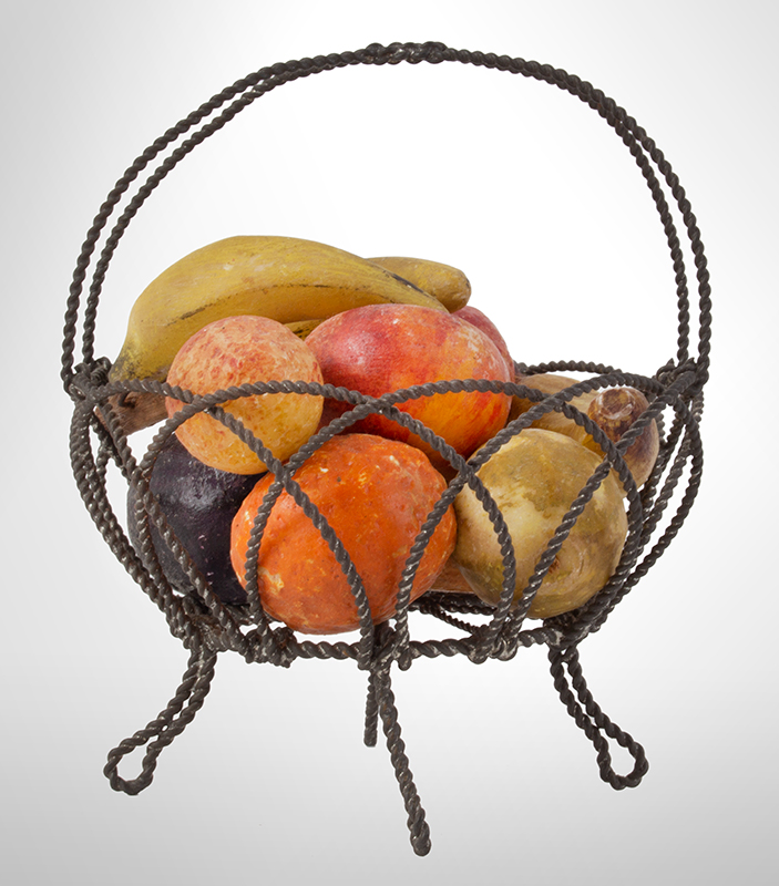 Small Wire Basket, Stone Fruits, 19th Century, entire view