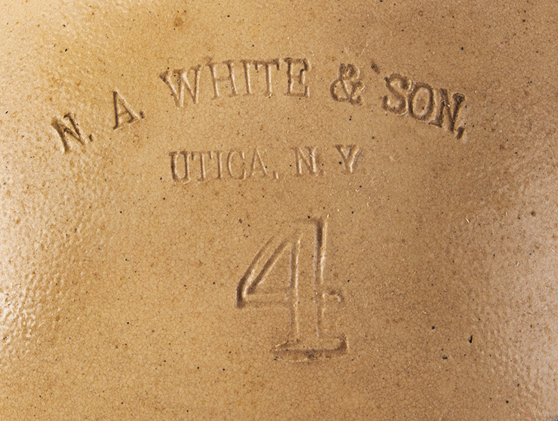 Antique, Stoneware Jug, Cobalt Paddle-tail Bird Decoration Impressed: N.A. WHITE & SON / UTICA, N.Y. / 4 Circa 1885, address detail