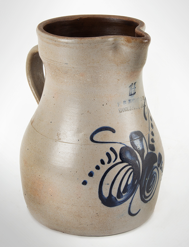 Stoneware; Norton (FB) & Co, Pitcher, Ovoid, Cobalt Foliate Decoration  Worcester, Massachusetts, circa 1865-1875, angle view