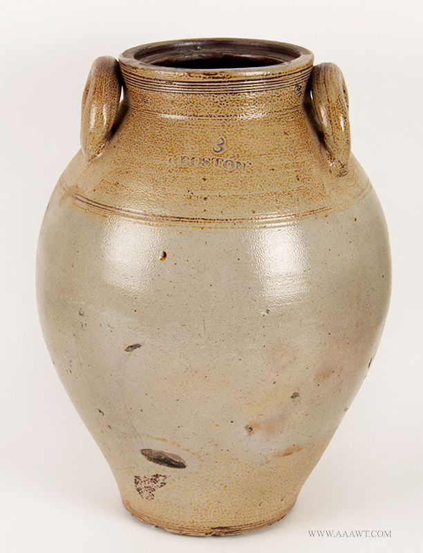 Stoneware Jar, Salt Glazed, Impressed Boston, Attributed to Carpenter        Three Gallon, Ovoid, entire view