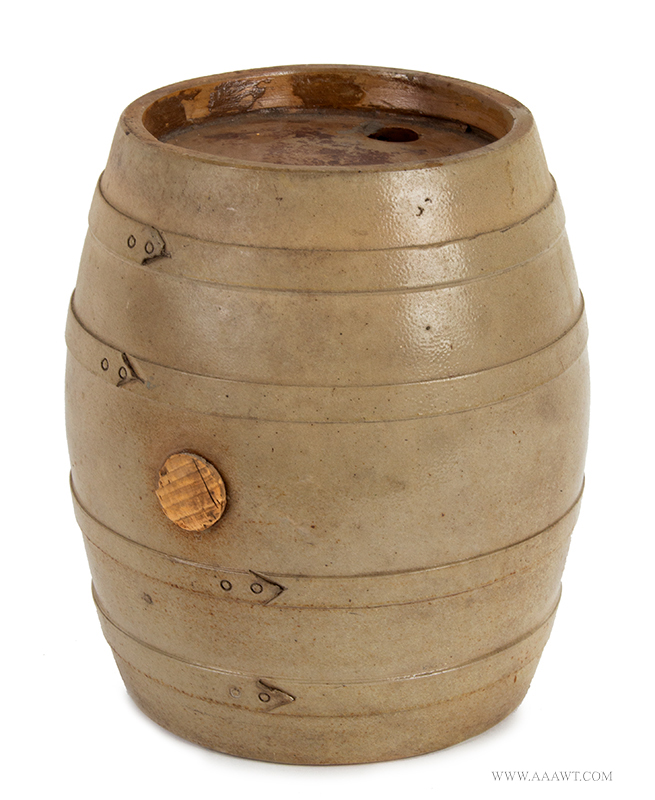 Stoneware Barrel Form Water Cooler, Bands Unknown maker, entire view
