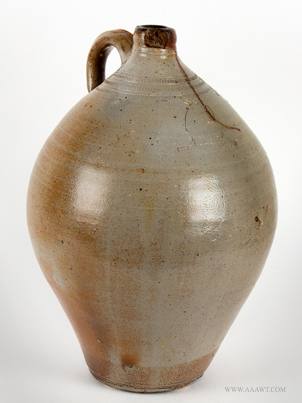 Stoneware, Highly Ovoid Jug, Impressed Eagle & Cannon, Attributed to Carpenter          Charlestown, Massachusetts, Circa 1812ish, entire view