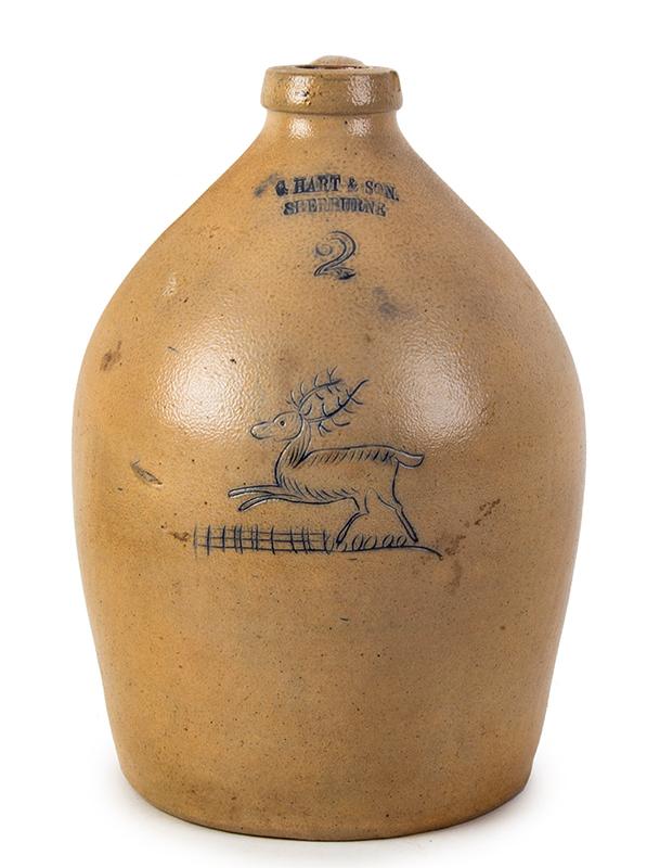 Stoneware Jug, Incised Deer, C. Hart & Son Sherburne, New York C. HART & SON. / SHERBURNE, entire view 1
