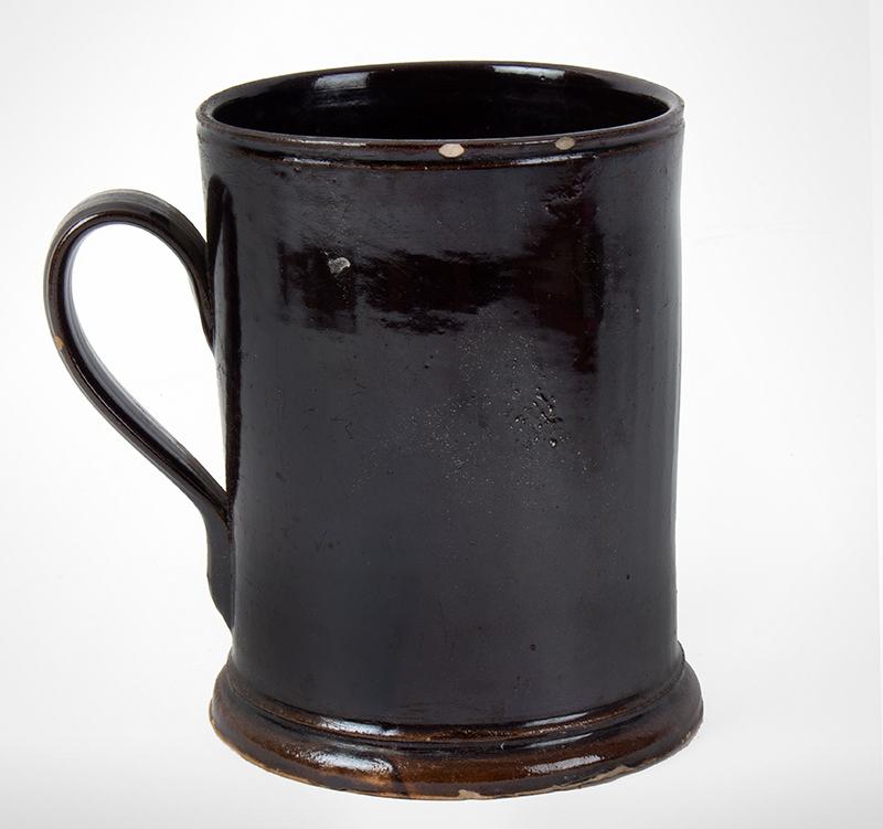 Antique, Stoneware Mug, Albany Slip Likely New York City, circa 1820, entire view 2