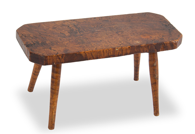 Antique Cricket Stool, New England, Circa 1825 Curly and burl maple, entire view 1