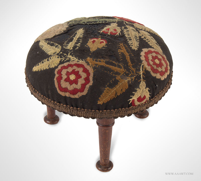 Cricket, Stuffed Foot-Stool Featuring Domed Needlework Top, Diminutive Unknown Maker, America, 19th Century, entire view