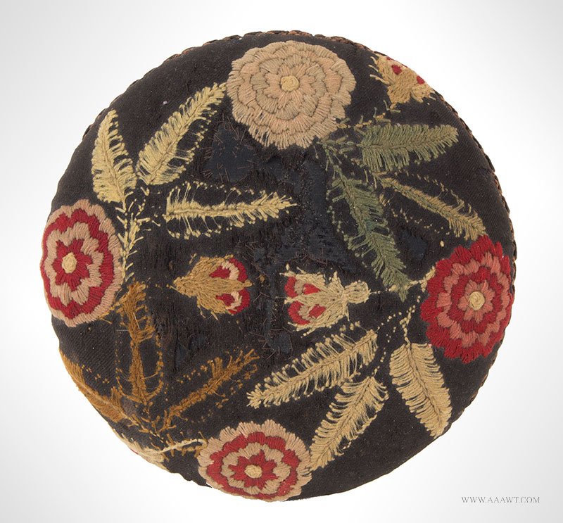 Cricket, Stuffed Foot-Stool Featuring Domed Needlework Top, Diminutive Unknown Maker, America, 19th Century, top detail