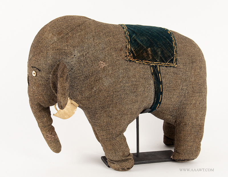 Antique Stuffed Elephant, Child's Toy, Handmade, Unique Wool, Brushed Cotton and Pressed Felt