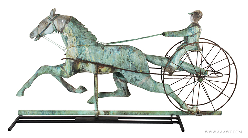 Weathervane, Fiske, Horse, Sulky & Driver, C. 1865-1870, Untouched Original Condition Outstanding Surface, 45-Inches, J.W. Fiske, New York, late 19th century Displaying encyclopedic surface, verdigris and mustard sizing, beautiful patina, entire view 1