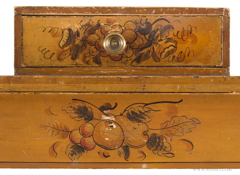 Antique Dressing Table, Paint Decorated Surface New England, Circa 1810 Eastern white pine, freehand pained decoration on mustard yellow ground, detail view