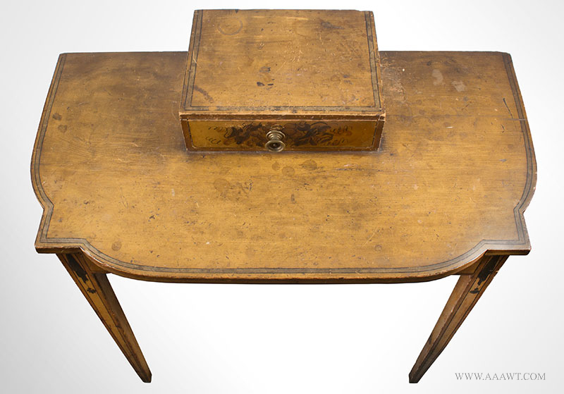 Antique Dressing Table, Paint Decorated Surface New England, Circa 1810 Eastern white pine, freehand pained decoration on mustard yellow ground, top view